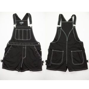TRIPP NYC Black Cotton Short OVERALLS Metal Studs